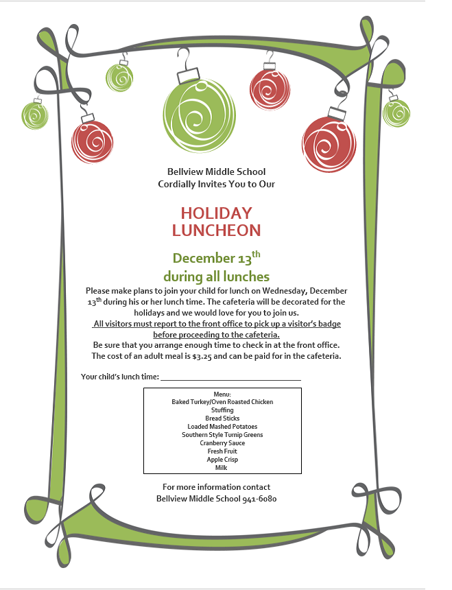 Holiday Luncheon flyer